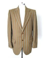 Vtg 60s Rat Pack Gold Gray Rust Stripe Diag Brocade Blazer Beatnik Jacket 40L