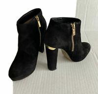 """Michael Kors Black Suede Ankle Bootie Zip Up Platform 4"""" Heel Womens Size 7 M"""