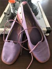 Rangoni Firenze Purple Low Heeled Canvas and Leather Shoes With Ankle Ties Sz  6