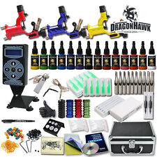 Complete Rotary Tattoo Machine Kit 3 Pro Gun Power Supply Needles 14 Color Inks
