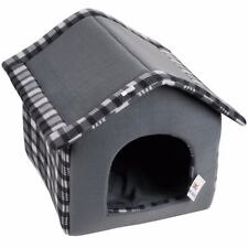 DOG/CAT TARTAN HOUSE BED Comfy Animal/Pet Mattress Removable Pillow WATERPROOF