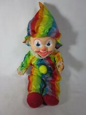 """Clown 14"""" Plush Striped Outfit and Hat Hard Head"""