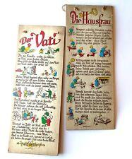 Der Vati Die Hausfrau Vintage Wall Art Parent Instruction Gift Sign Nursery Baby