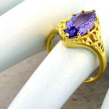 Silver Antique Style Ring Size 10,#1003 Genuine Amethyst 24K Gold & 925 Sterling