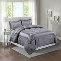 Grey Quilted Bedspread / Comforter Throw King Size Bed Set With Pillow Shams