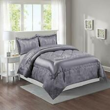 Grey Quilted Bedspread / Comforter Set Throw For Bed Room King Size Set Of 3-Bty