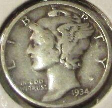 1934 Mercury 90% Silver 10c Dime - #3