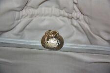 Vintage Ingber Oyster Color Gold Rose Clip Leather Purse BROKEN HANDLES AS IS