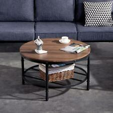Hot Modern Style Coffee Table w/ Metal Frame Living Room Furniture Black Round