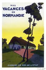 Affiche chemin de fer Etat - Vacances en Normandie