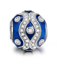 "NinaQueen ""Galaxy"" 925 Sterling Silver Blue Enamel Clear Zirconia Charms"