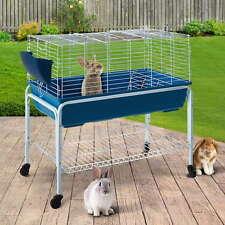 Pet Hutch w/ Stand Rabbit Guinea Pig Chickens Detachable Bottom Castor Wheels