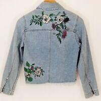 H&M Coachella Collection Denim Jean Jacket Embroidered Raw Hem Size Small