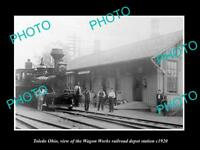 OLD LARGE HISTORIC PHOTO OF TOLEDO OHIO, THE WAGON WORKS RAILROAD DEPOT c1920