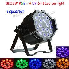 12pcs 18x18W PRO LED Par 6in1 RGBWA UV (324 Watt) BLACK LIGHT for dj party 10CH