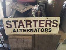 Vintage Embossed Starters Alternators Plastic Sign Gas Oil Transportation