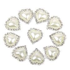 10pcs Heart Shape Rhinestone Faux Pearl Glue on Flat Back Embellishments 20x25mm