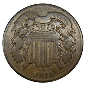 1871 Two Cent (2C) Piece Uncertified Coin