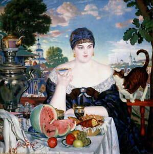 Boris Kustodiev Merchant's Wife at Tea Giclee Canvas Print Poster LARGE SIZE