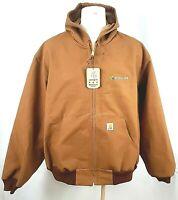 Carhartt Jacket Mens Medium Reg Thermal Hooded Brown Canvas Duck USA J131 Logo