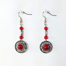 Ethnic Antique Silver / Tibetan Silver Red Turquoise Gemstone Dangle Earrings