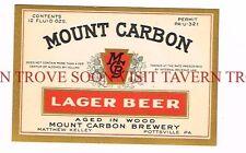 Unused 1930s U-Permit Mt. Carbon Lager Beer label Tavern Trove Pennsylvania