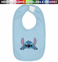 Lilo and Stitch Alien Dog Infant Baby Bib Cotton Hook & Loop Closure Gift Cute