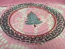 "Arocoroc Clear Glass Plate Green Christmas Tree Red Band 9"" Luncheon Salad"