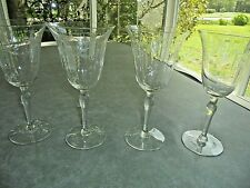 """Set of 4 Etched Wine Glasses 7 3/4"""" Tall"""