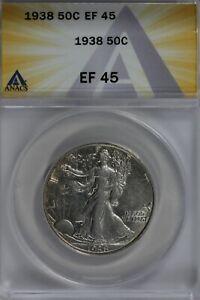 1938  50C ANACS   EF45   Walking Liberty, Lady Liberty Half, 0.50