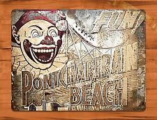 "TIN SIGN ""Ponchartrain Beach Sign"" Clown Rustic Theme Park New Orleans"