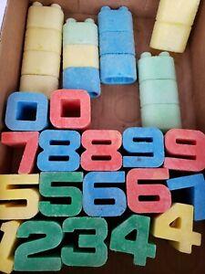 Lot of 32 Mattel Tuff Stuff Stacking Blocks Numbers 0 - 9 Vintage 1971