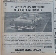 1963 newspaper ad for Plymouth - Valiant prices lower than 9 American compacts