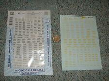 Microscale decals Ho 87-1123 Data box car door markings yellow H24