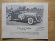 DUESENBERG II Royalton orig c1981 USA Mkt sales brochure - Elite Heritage Motors