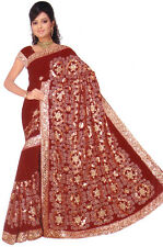 Maroon Bollywood Wedding Sequin Embroidery Sari Saree Costume danse du ventre NW