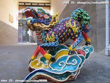 China Taiwan WuCai porcelain Dragon kylin Lucky Feng shui Beast statue