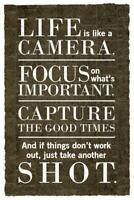 Life Is Like A Camera Motivational Quote Newspaper Inch Poster 24x36 inch