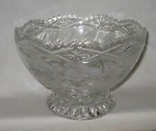 Crystal Candy Dish/Bowl Frosted Roses With Frosted Leaves Sawtooth Edging