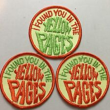 """Vintage, """"I Found You In The Yellow Pages, 3"""" Round (3) Patches,1 Reversed Color"""