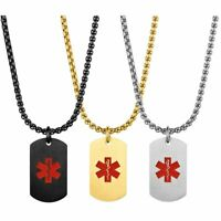 Mens Stainless Steel Medical Alert Dog Tag Pendant Necklace Chain Free Engraving