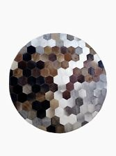 Real Cowhide Area Rug Patchwork Multicolor Geometric Cow Hide Skin Print Rug