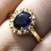 1.5 Ct Oval Blue Sapphire Halo Ring Women Jewelry Gift 14K Yellow Gold Plated