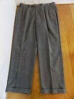 Chaps Men's Wool Dress Pants Sz 40 W X 32 L Heather Gray Slacks Pleated Cuffed