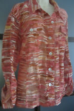 Ruby Rd Shirt 20W Button Front Women Top Blouse Semi Sheer Long Sleeve Oranges