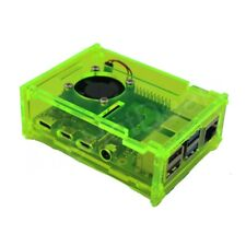 Raspberry Pi 4 Gloss Fluorescent Green Acrylic Case Enclosure Box w/ Cooling Fan