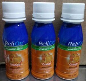 3 Pack ReliOn Glucose Shot Orange 2oz. Bottles Natural Flavor Drink B By 11/2022