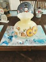 """6.75"""" FLOWER GLASS SHADE HURRICANE/GONE WITH THE WIND LAMP 8.25"""" Tall"""
