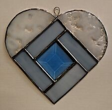 Blue and White Beveled  Stained Glass   Heart Suncatcher