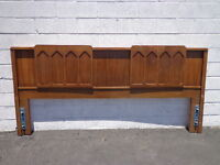 Headboard Mid Century Modern Bed King Brutalist Inspired Frame Wood Finish Boho